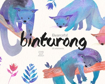 Binturong Art Bearcat Print Binturong Clipart Nursery Wall Art Bearcat Clipart Purple Bearcat Binturong Digital Kids Wall Art Blue Bearcat