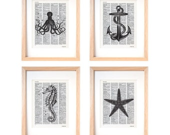 Sea life set of 4 prints-coastal wall art-beach decor-sea life dictionary print-home decor-gift idea-ocean wall art-marine print-DP315