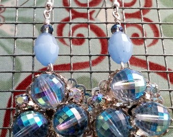 Upcycled Vintage Baby Blue Crystal Cluster Drop Earrings