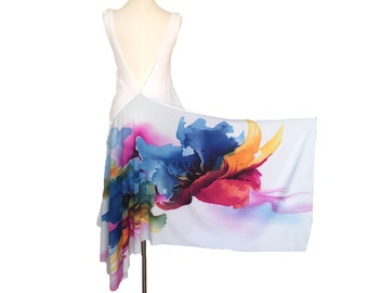 Argentine tango top, backless top. Open back, high low crop top in abstract flower. Deep V back blouse for wedding guest. Burning man wear