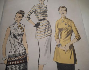 Vintage 1950's Advance 7852 Tunic Sewing Pattern Size 12 Bust 30