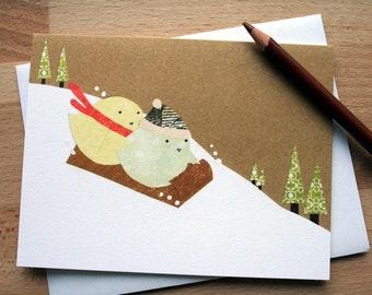 CARD: Birds Bobsledding in Snow; Blank Card; Winter, Holiday, Season's Greetings