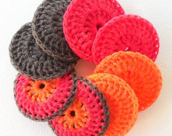 Crocheted Nylon Dish Scrubbies - Fall Foliage Collection - Set of 8 - Brown, Red and Orange Multicolor Scrubbers