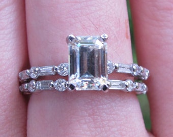 East West Moissanite Engagement Ring East West Emerald Cut