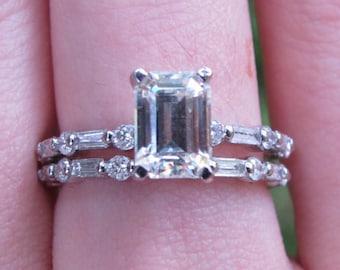 Emerald Cut Moissanite Engagement Ring Set, Emerald Cut Bridal Set, Emerald Cut Diamond Ring Set, Round and Baguette Cut Ring Set