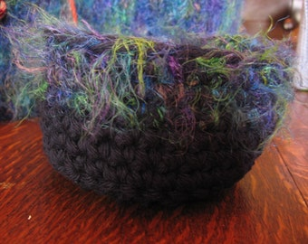 Hand Crocheted Cotton and Fur Yarn Basket