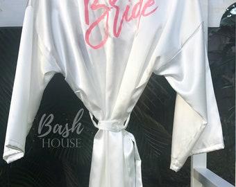 Bride Robe - Bridesmaid Gifts - Bridal Robe - Mrs. Wedding Robe - Wedding Day Robe - Bridesmaid Robes - Bridal Party Robe - Satin Bride Robe