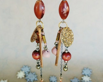 Autumn Sunset Earrings - Woodland Raised - Red, orange, yellow, gold, copper, autumn, sunset, long, cluster, fall, autumnal, unique, ooak
