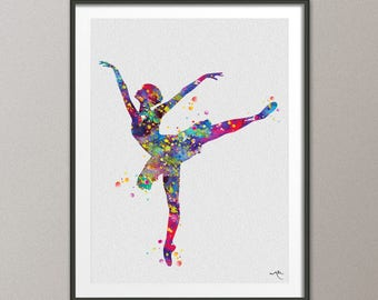 Ballerina 3 Watercolor Print Archival Fine Art Print Children's Nursery Decor Kids Room Princess For Girl Wall Art Wall Hanging [No 760]