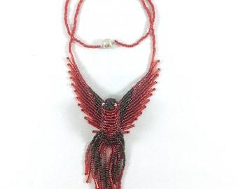 Fire Bird Necklace - Red Black Firebird - Phoenix Jewelry- 3D Bead Bird - Phoenix Jewelry - Phoenix Bird Pendant - Thunderbird Necklace