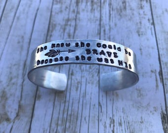 She knew she could be brave bracelet (aluminum)
