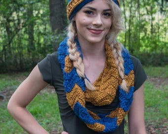 Blue and Bronze Chevron Infinity Scarf