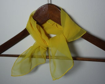 Vintage Women's Yellow Square Sheer Chiffon Polyester Hair or Neck Scarf