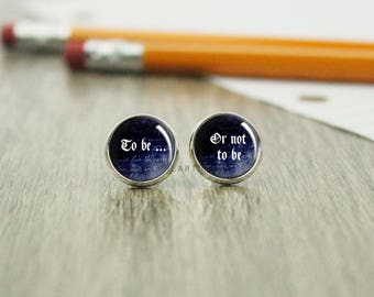 To Be or Not to Be Earrings - Shakespeare Jewelry - Literature  - Hamlet Gift -  Book Jewelry - Literary Jewelry - Hamlet -  (H5560)
