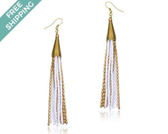 Gold & White Beaded Earrings