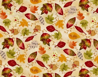 By 1/2 Yard ~ Autumn Road Leaves Allover Tan ~ Fall Quilting Fabric by  Katie Doucette  for Wilmington Fabircs