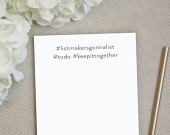Personalized Notepad. Hashtag Notepad. Personalized Note Pad. Stationery. Personalized To Do List. Stationary. To Do List. Memo. Hashtag.