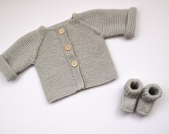 Hand Knit Baby Cardigan + Bootie Set - Silver Grey