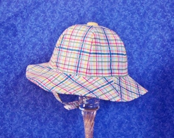 Plaid Baby Sunhat with Chin Straps Infant Sunhat Baby Beach Hat 6-12 months