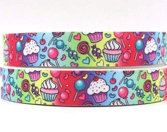 """CUPCAKES & LOLLIES 22MM 7/8"""" Grosgrain Ribbon Craft Bow Decoration Metre Yard Cake Sweets RB45"""