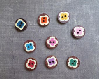 40 buttons wood Brown round Motif flower mixed colors