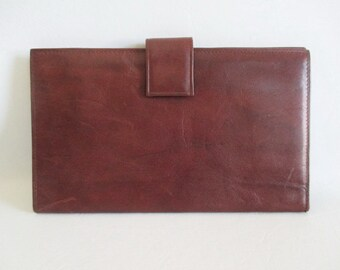 Brown Leather Wallet Checkbook Passport Holder Made in Canada by Tilley Men's Wallet