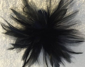 Black Feather Fascinator Hair Clip Accessory.. many colors available...Handmade in the USA