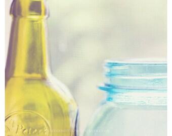 bathroom decor, kitchen art, glass bottles photo, shabby chic, bathroom wall print, olive green, aqua blue, still life photography