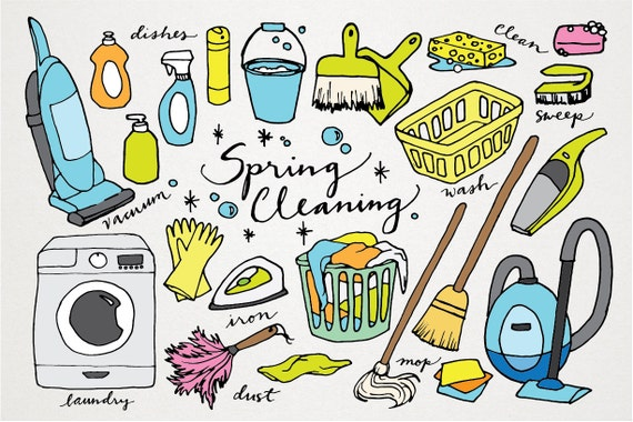 spring cleaning clipart hand drawn clip art laundry rh etsy com Spring Cleaning Background Cleaning Clip Art Office Spring