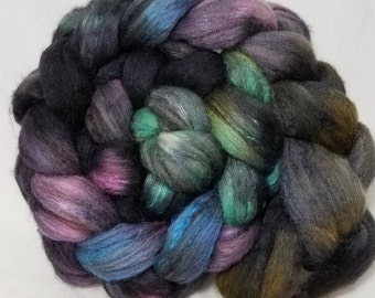 Polwarth/yak/tussah silk hand dyed roving (combed top) for spinning or felting, yak fiber, OOAK colorway 'Raven'-- 4 oz.