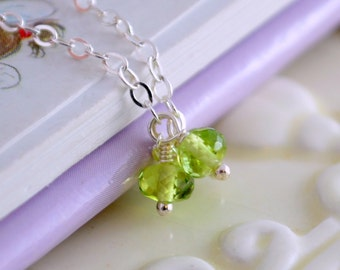 Child's Peridot Necklace, Genuine Gemstone Trio, Lime Green, August Birthday, Adjustable, Wire Wrapped, Sterling Silver, Birthstone Jewelry