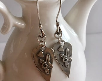 Heart Earrings-Sterling Silver Heart Earrings
