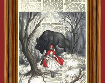 Red Riding Hood Wolf Woods Fairy Tale Story Upcycled Dictionary Vintage Art Print Poster