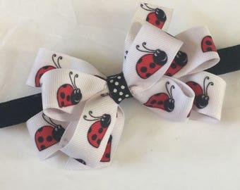 Ladybug boutique hair bow headband girls boutique  headbands