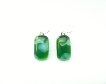 Recycled wine bottle sterling silver earrings in green and white glass/Eco-friendly green and frosted glass kiln-fused jewelry/Crushed glass