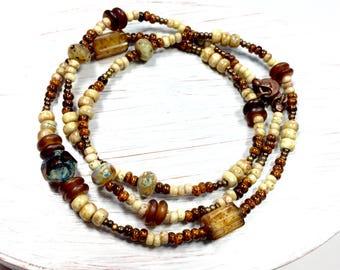 Camel Glass Beaded Necklace, Golden Cream, Boho Wrap Bracelet