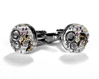 LONGINES PINSTRiPED Cufflinks Steampunk Jewelry Luxury Watch Cuff Links Wedding Anniversary Groom Fiancee VERY RARE - Jewelry by edmdesigns