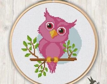 Pink Owl cross stitch pattern, modern cross stitch pattern, cute cross stitch pattern, needlecraft