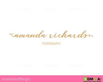 Premade Logo, Goil foil Premade logo design photography logo blog website logo gold foil logo gold logo boutique photography handwritten