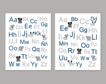 Dogs Wall Art, Print Wall Decor, Blue and Gray Puppy Dogs Art, Spanish and English Alphabet, Set of 2, Choose your Size and Colors
