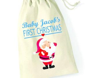 Personalised Santa Hug Babys First Christmas Santa Sack Reindeer Xmas Present Stocking Drawstring Keepsake Tumblr Pintrest