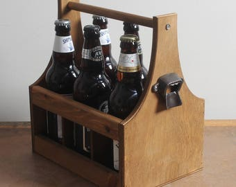 6 x Bottle Vintage Wooden Beer Carrier Holder + Cast Iron Bottle Opener - 5th/6th Anniversary Christmas Man Dad Men Fathers Day Gift - BC01