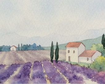 Original watercolor ACEO painting - Lavender field