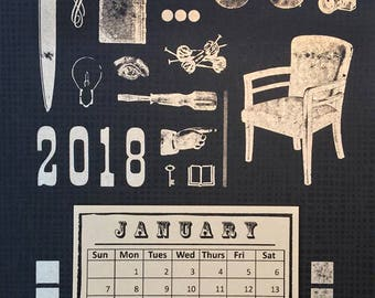 Letterpress Calendar // 2018 Calendar // Black and Silver