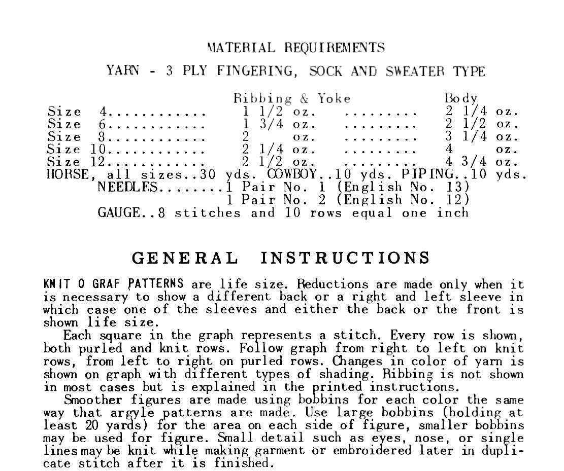 1950s Knit O Graf PATTERN 170 Bronc Rider Cowboy Horse Cardigan ...