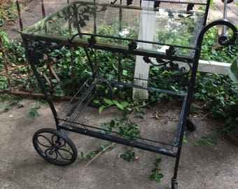 Vintage wrought iron cart