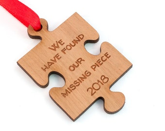 Missing Piece Adoption Ornament - Puzzle Piece Christmas Tree Decoration - Tree Ornament - Laser Engraved Cherry Wood