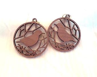 Wood (African Mahogany) Fishhook Earrings