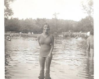 """Vintage Photo """"The Water's Fine"""" Big-Busted Young Girl Poses In Lake Bathing Beauty Original Found Photo Vernacular Photography"""