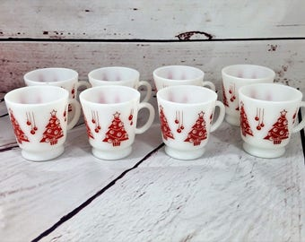 Atlas Hazel Christmas Mugs, Milk Glass Cups, Red Christmas Trees, Tom and Jerry Set, Hot Toddy Cups, Vintage Christmas, 1950s Egg Nog